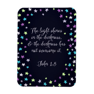 John 1:5 The Light Shines in The Dark Bible Quote Rectangular Photo Magnet