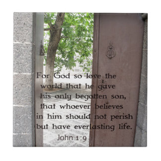 John 1:9 Inspirational and Uplifting Bible Verse Small Square Tile