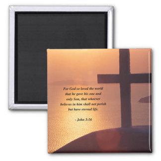 JOHN 3:16 2 INCH SQUARE MAGNET