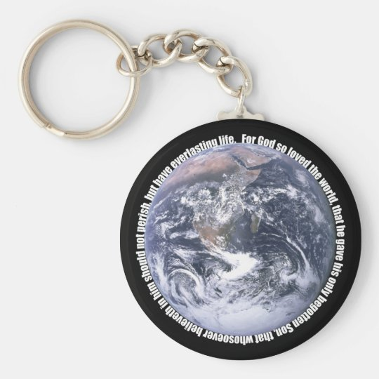 John 3:16 around Earth Keychain