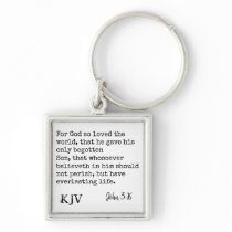 John 3:16 Bible Quote - Can be Customized Keychain