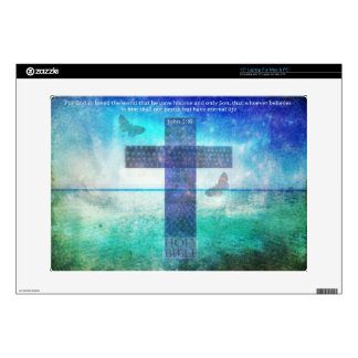 "John 3:16 Bible Quote words with Contemporary art 15"" Laptop Skin"