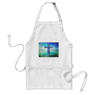John 3:16 Bible Quote words with Contemporary art Adult Apron