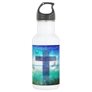 John 3:16 Bible Quote words with Contemporary art 18oz Water Bottle