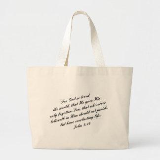 John 3:16 Bible Verse (KJV) Large Tote Bag