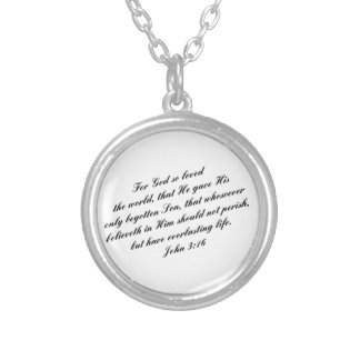 John 3:16 Bible Verse (KJV) Round Pendant Necklace