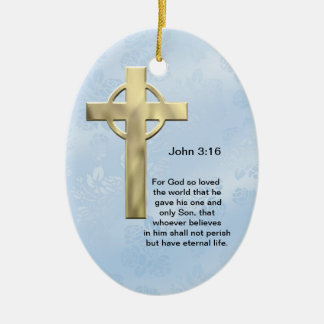 John 3 16 blue christmas ornament