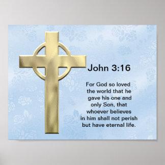 John 3:16 (blue) poster
