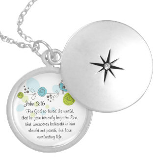 John 3:16 Christian Bible verse locket necklace