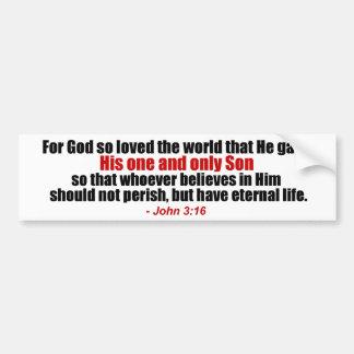 John 3:16 Christian Bumper Sticker Car Bumper Sticker