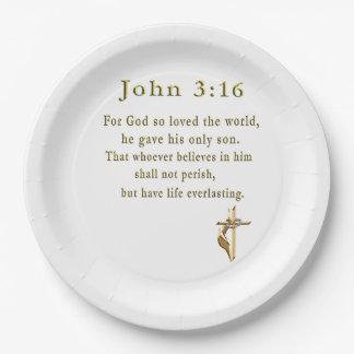 John 3:16 christian gifts paper plate