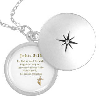 John 3:16 christian gifts round locket necklace