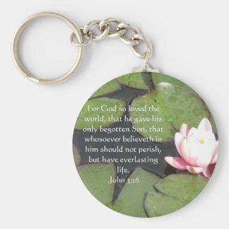 John 3:16 Christian Inspirational Quote Keychain