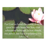 John 3:16 Christian Inspirational Quote Postcard
