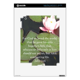 John 3:16 Christian Inspirational Quote Decal For iPad 3