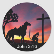 John 3:16 Cowboy at the Cross Christian Sticker