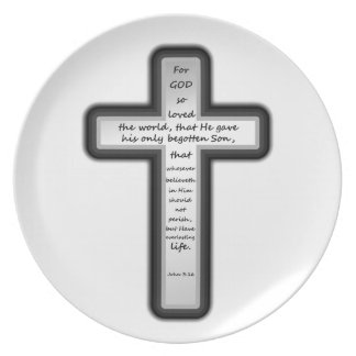 John 3:16 Cross Only Dinner Plate