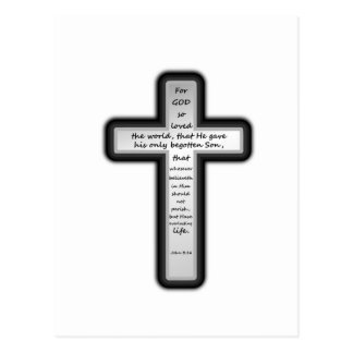 John 3:16 Cross Postcard