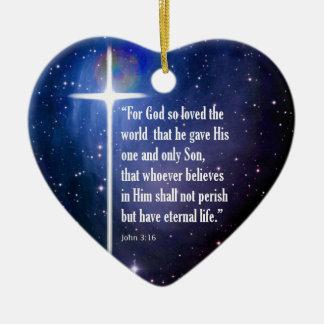 John 3:16 Double-Sided heart ceramic christmas ornament