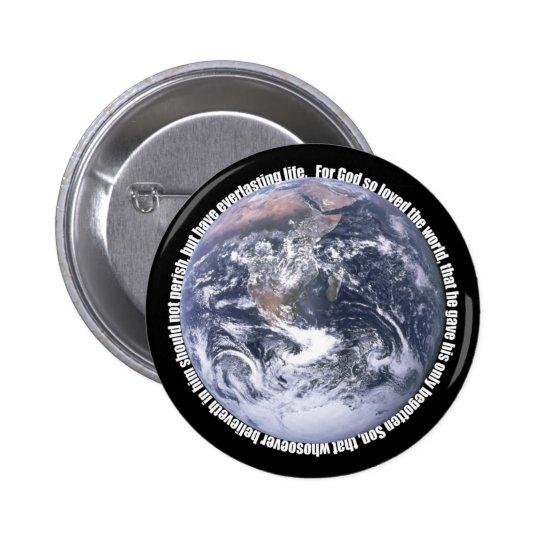 John 3:16-Earth Christian Button