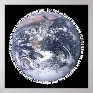 John 3 16 Earth Poster