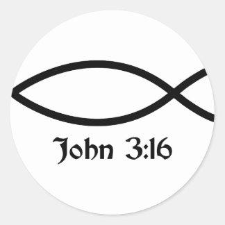 John 3 16 Fish Round Stickers