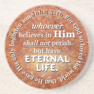 John 3:16 For God So Loved The World Bible Verse Drink Coaster
