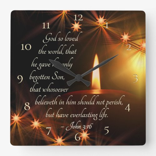 John 3:16 For God so loved the world, Bible Verse Square Wall Clock