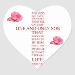 John 3:16 - For God so loved the world Heart Sticker