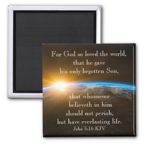 John 3:16 - for God so loved the world Magnet