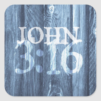 John 3 16 For God So Loved the World Square Stickers