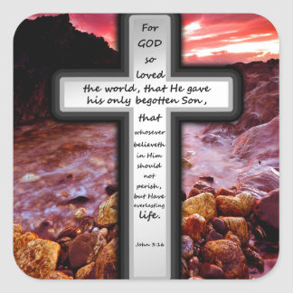 John 3:16 Gifts Square Sticker