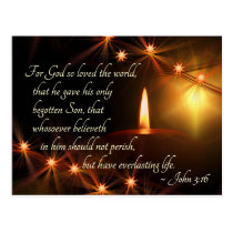 John 3:16 God so loved the world, Christmas Candle Postcard