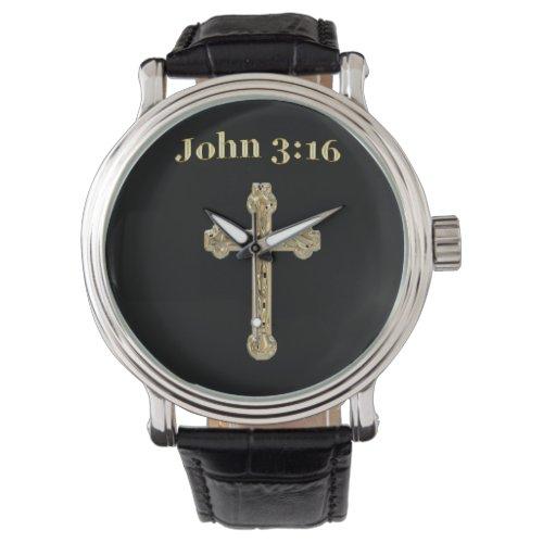 John 3:16 Gold cross Watch