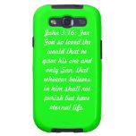 John 3:16 Green Samsung Galaxy S Cases. Galaxy S3 Covers