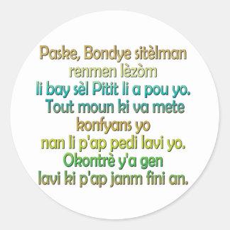 John 3:16 Haitian Creole Classic Round Sticker