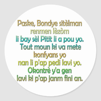 John 3 16 Haitian Creole Round Stickers