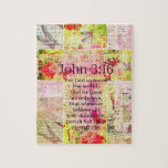 """John 3:16  Inspirational Bible verse words art Jigsaw Puzzle<br><div class=""""desc"""">For God so loved the world that he gave his one and only Son,  that whoever believes in him shall not perish but have eternal life.    John 3:16</div>"""