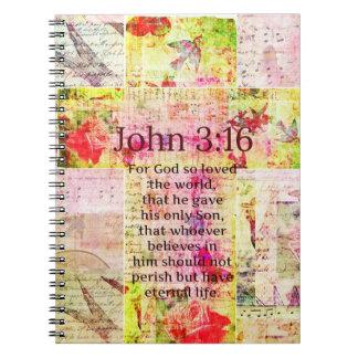 John 3:16  Inspirational Bible verse words art Spiral Note Books