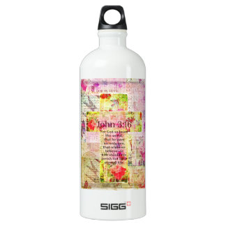 John 3:16  Inspirational Bible verse words art Water Bottle