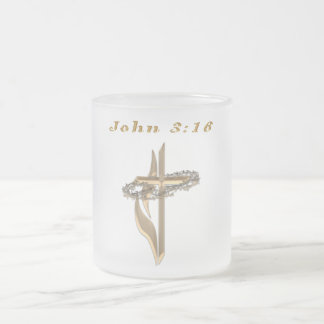 John 3:16 items frosted glass coffee mug