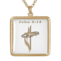 John 3:16 jewelrey gold finish necklace