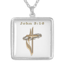 John 3:16 jewelrey silver plated necklace
