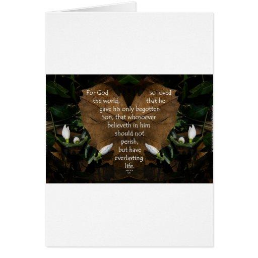 john 3:16 king james on heart leaf card