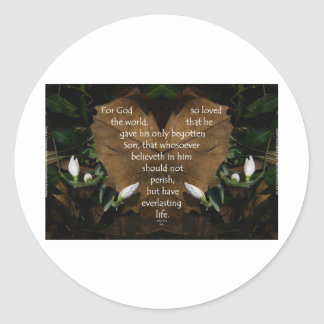 john 3:16 king james on heart leaf classic round sticker