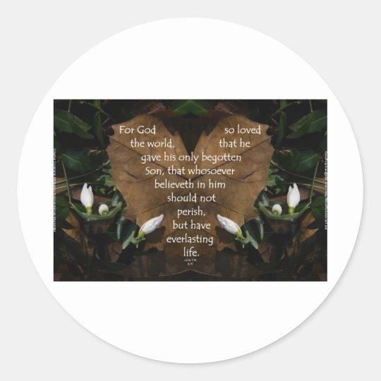john 3:16 king james on heart leaf classic round sticker