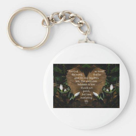 john 3:16 king james on heart leaf keychain