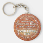John 3:16 KJV Everlasting Life Bible Verse Quote Basic Round Button Keychain