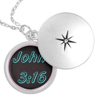 John 3:16 Locket, original art religious pendant