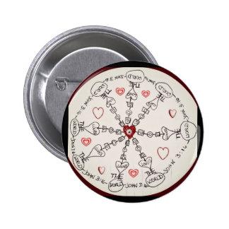 John 3:16 Mandala Pinback Buttons